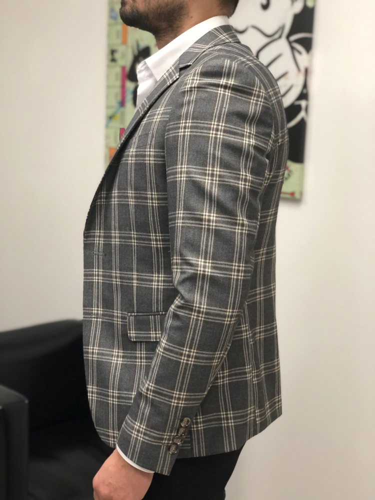 Blazer homme gris à carreaux ultra slim