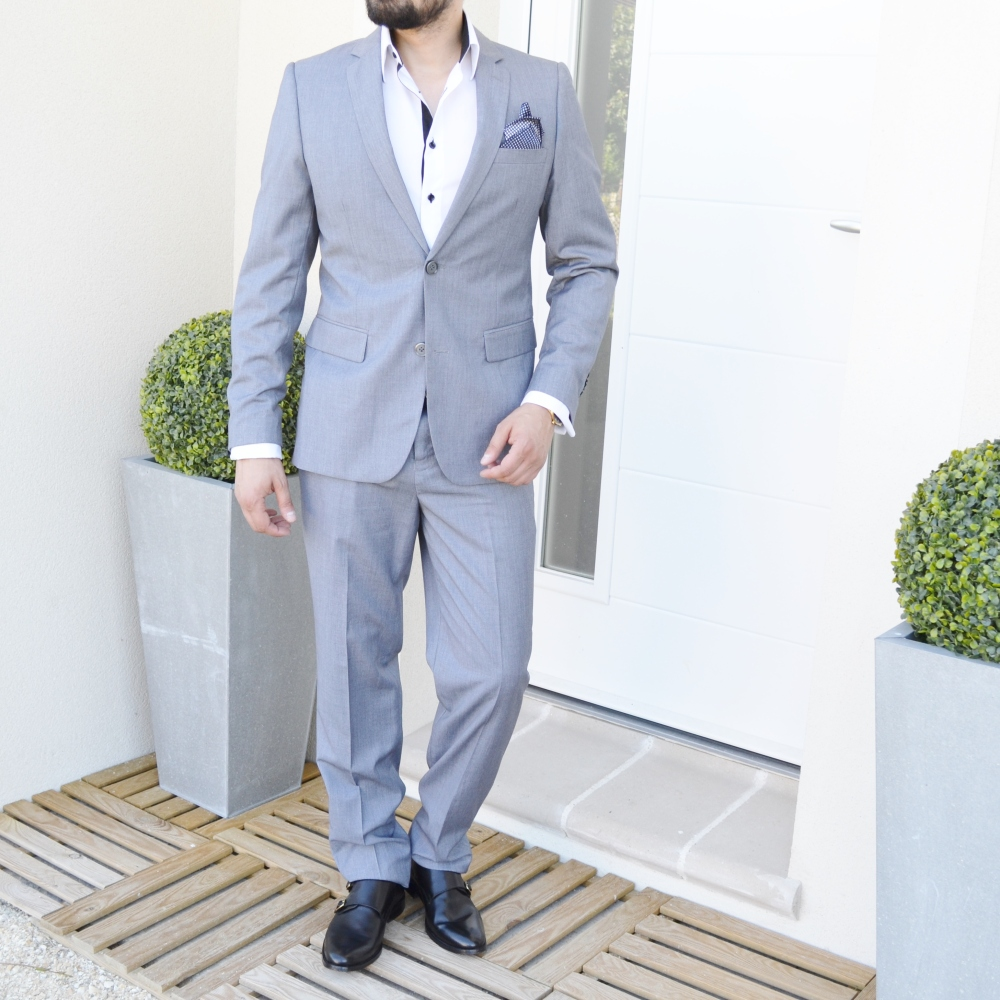 Costume homme gris clair style chic modèle Luciano