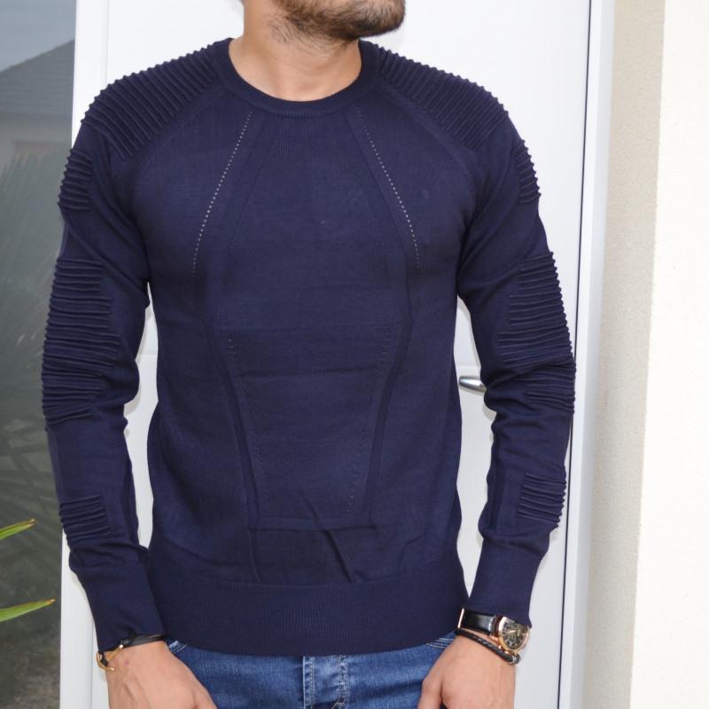 pull homme bleu marine