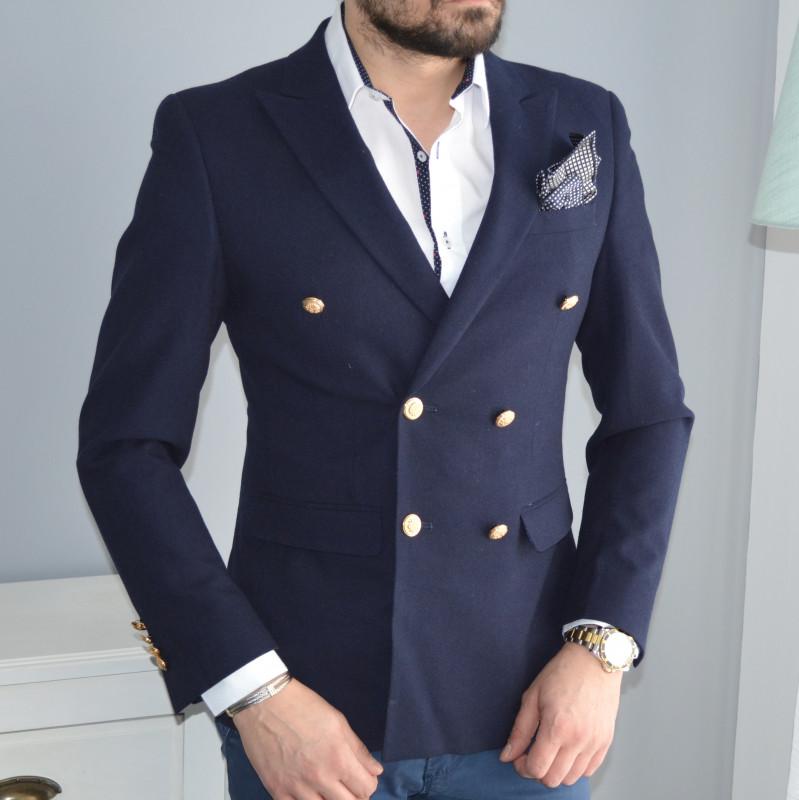 veste blazer crois homme coiurte avec bouton dor. Black Bedroom Furniture Sets. Home Design Ideas